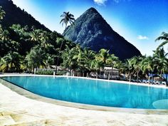 The great #pitons seen from the pool at Sugar Beach, A Viceroy Resort