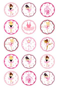 Little Ballet Dancer 1 inch Circles Round Graphics Digital Collage images Ballerina Party, Ballerina Baby Showers, Ballerina Birthday Parties, Girl Birthday, Image Digital, Tutu Party, Bottle Cap Crafts, Bottle Caps, Bottle Cap Images