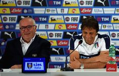 Head coach Italy Antonio Conte (R) and President FIGC Carlo Tavecchio speak with a media during a press conference at Casa Azzurri on July 03, 2016 in Montpellier, France.