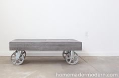 This modern concrete fireplace doubles as a coffee table on wheels. I used Quikrete 5000 cement mix poured into a melamine mold to make the table and added charcoal pigment from Quikrete to give the concrete a dark grey color. The manufacturer of the fireplace insert claims that bio-ethanol fuel is safe indoors and out, but I would only use the table outdoors. I was curious about ethanol fireplaces so I bought one from Moda Flame (not a sponsor) and made a simple, concrete table on wheels…