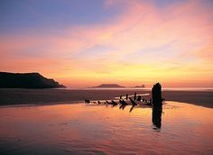 The UK's Most Romantic Beaches Shipwreck on Rhossili Beach in Wales - © Crown copyright Visit Wales Best Beaches In England, British Beaches, Romantic Beach, Most Romantic, Swansea Bay, Swansea Wales, Rhossili Beach, Wales Beach, Gower Peninsula