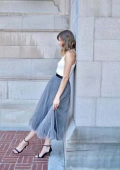 Great tulle skirt for bridesmaids and ribbon belt simple tee  or dainty sweater the look is timeless Via:the merry bride  Comments:gemjunkiejewels