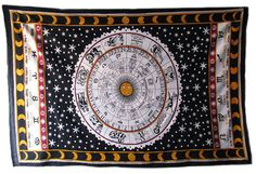 Twin Indian Zodiac Astrology Mandala Tapestry Wall Hanging Bedspread Decor Throw #Unbranded #ArtDecoStyle