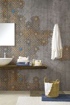 bathroom wall, decoration and concrete tiles Wood Bathroom, Bathroom Wall Decor, Bathroom Interior, Kitchen Interior, Bathroom Ideas, Bathroom Yellow, Kitchen Design, Colorful Bathroom, Interior Walls