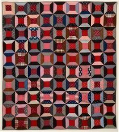 Spool Pattern Quilt Top with Later Quilting