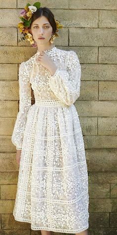 Costarellos Wedding Dresses Super Stylish Collection ❤️ costarellos we. Costarellos Wedding Dresses Super Stylish Collection ❤️ costarellos wedding dresses 2019 tea length with long sleeves floral appliques ❤️ Full gallery: weddingdressesgui. Wedding Dress Trumpet, Tea Length Wedding Dress, Tea Length Dresses, Boho Wedding Dress, Boho Dress, Wedding Dresses, Wedding Bride, White Tea Length Dress, 40s Wedding