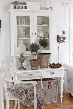White living with rustic details.