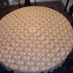 Hand knit lace tablecloth from the Dover vintage knitted lace pattern book 3 years in the making.