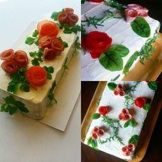 """""""Viikonlopun voileipäkakkuja #voileipäkakku #kinkku #sandwich #cake #ham #smörgåstårta #skinka #instacake"""""""