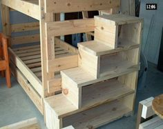 Solid Wood Custom Made Stairs For Queen Size Bunk Or Loft Bed (USMFS)