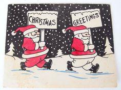 Unused Vintage Christmas Holiday Card  Santa by BythewaysideXmas