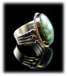 Silver and Gold Damele Turquoise Ring