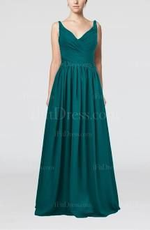 Teal Affordable Prom Dress Long Simple Petite Trendy Western for Less