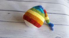 Rainbow newborn photo prop, rainbow newborn knit hat, baby rainbow boy and girl knot beanie, newborn props Newborn Photo Props, Newborn Photos, Newborn Knit Hat, Rainbow Boys, Monogram Hats, Elf Hat, Personalized Baby Gifts, Baby Hats, Hand Knitting