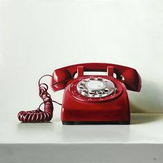 Red Rotary Phone: Oil/Canvas by Christopher Stott Vintage Phones, Vintage Telephone, Illustration Arte, Hyper Realistic Paintings, Red Art, Red Aesthetic, Classy Aesthetic, Photorealism, Canadian Artists