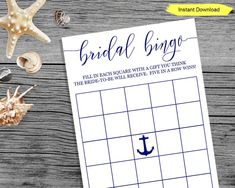 Nautical Bridal Bingo  Have fun at your Bridal Shower playing Bridal Bingo with this elegant, chic, and classy navy blue bingo cards. The item will also display with black font when printed as black and white on a printer. Let your guests guess what gifts the bride-to-be might receive. #nauticalparty #nauticalbridalshower #beachbridalshower #bridalshowergames #bridalshower Navy Bridal Shower, Nautical Bridal Showers, Nautical Party, Nautical Wedding, Bridal Shower Games, Bridal Bingo, Sprinkle Party, Bingo Games, Elegant Chic