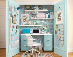 "Inspiration for decoration: craft room  This page has LOTS of great craft room ideas, I love this one b/c it is a space I might actually be able to accomplish. Though, I would not decorate so much in the ""country"" style. Love the peg board on the door!"