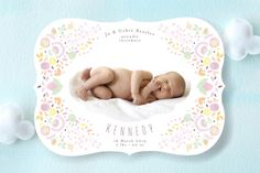 Fancy Floral Frame Birth Announcements by The Lovely Letters at minted.com