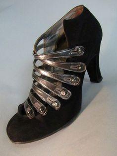 Seymour Troy Button Strap Black Suede Heels c. 1929 vintage fashion style 30s shoes pumps silver modern unique design