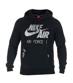 508ec3d025d4 NIKE Air Force One Pullover style hoodie Reflective silver screen print NIKE  AIR logo on front Long sleeve design Adjustable drawstring on hood