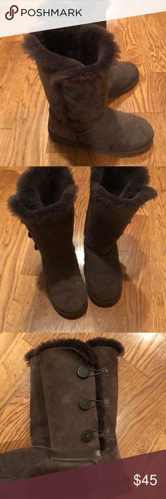 Ugg boots Chocolate brown Baily button boot hardly worn UGG Shoes Winter & Rain Boots