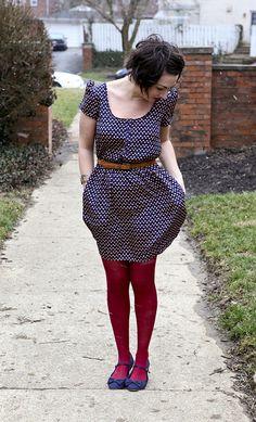 polka dot dress (Target) + red tights and flats