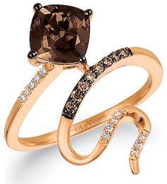 Le Vian Chocolatier Le Vian 14ct Strawberry Gold Chocolate Quartz Ring