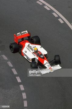 Ayrton Senna of Brazil in action in his McLaren Honda during the Monaco Grand Prix at the Monte Carlo circuit in Monaco. Senna retired from the race after hitting a barrier. Mclaren Formula 1, Alain Prost, Sport Cars, Race Cars, Brazilian Grand Prix, Stock Car, Nascar, Honda, Italian Grand Prix