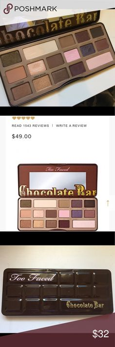 Too Faced Chocolate Bar Palette Too Faced Chocolate Bar palette. Very lightly used. Small dent in tin packaging. Beautiful neutral shades with a couple pops of wearable color! Smells like 🍫! 🙌🏼 Makeup Eyeshadow
