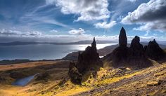 """""""A rare beautifully clear day on the Island of Skye in North West of Scotland. Perched high above the Old Man of Storr with views through to the Cullins mountain range""""  by Tony McGarva"""
