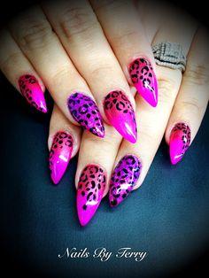 Dark pink/light pink & purple Leopard gel nails by Terry