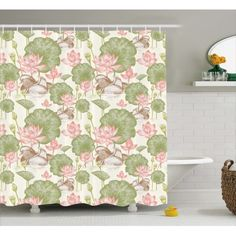Bloomsbury Market Angelina Lotus Flowers Pond Lilies Single Shower Curtain Size: W x Green Shower Curtains, Flower Shower Curtain, Shower Curtain Sizes, Pink Bathroom Accessories, Bathroom Decor Sets, Lily Pond, Amazing Bathrooms, Vintage Prints, Pink And Green