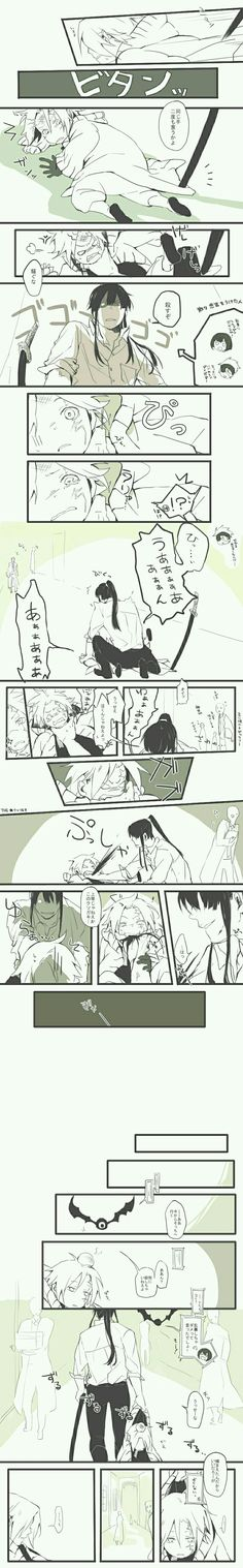 Allen and Kanda ~ haha couldn't be helped Allen. This is what happens when you put up a fight hehe