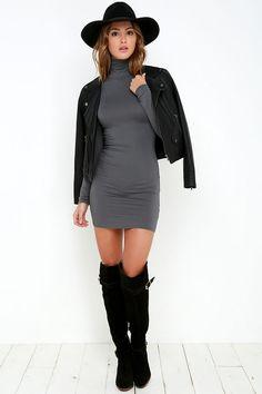 High Hopes Dark Grey Long Sleeve Bodycon Dress at Lulus.com!