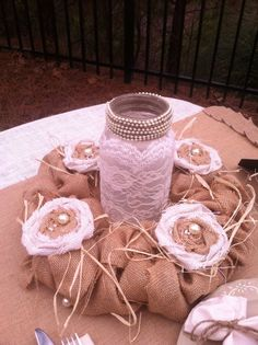 burlap garland for country wedding, vintage wedding mason jars, fall wedding table settings #2014 Valentines day wedding #2014 home decor #rustic wedding ideas www.dreamyweddingideas.com