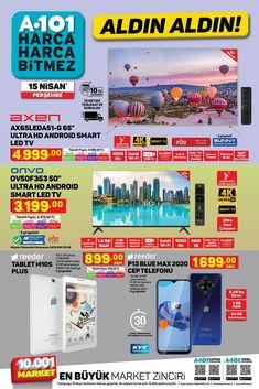 """15 Nisan ile 21 Nisan 2021 tarihleri arasında A101 marketlerde geçerli """"Aldın Aldın"""" broşürü 11 sayfadan oluşmaktadır. A101′ in 15 Nisan tarihli broşüründe Axen 65″ ve Onvo 50″ Smart LED TV, Reeder marka M10S Plus Tablet ve P13 Cep Telefonu, SEG marka CM580 Çamaşır Makinesi ve SNF5200 Buzdolabı, Samsung Cyclone Süpürge, oyuncak, giyim ve gıda ürünleri yer almaktadır. #a101 #a101market #aktüelürünler #broşür #katalog #indirim Smart Tv, Wi Fi, Android, Samsung, Marketing, Pasta, Clouds, Pasta Recipes, Pasta Dishes"""