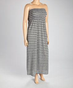 Light Gray Stripe Strapless Maxi Dress - Plus by Ami Sanzuri #zulily #zulilyfinds