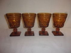 Set of (4) Vintage 1950s Indiana Glass Colony Park Lane Footed Amber Goblets