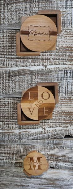 Lovely custom engraved wooden coasters | Made on Hatch.co