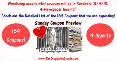 ***HUGE COUPON WEEKEND ~ 169 COUPONS IN 4 INSERTS EXPECTED*** GET the Detailed List of all 169 Coupons HERE ► http://www.thecouponingcouple.com/3-4-18-sunday-coupon-preview/  #Coupons #Couponing #CouponCommunity  Visit us at http://www.thecouponingcouple.com for more great posts!