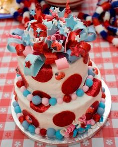 Ladybug/4th of July cake By SugarHigh2007 on CakeCentral.com
