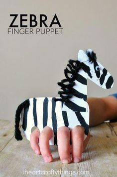 Galloping Finger Puppet Zebra Craft - This zebra can gallop really quickly. : D Informations About Galloping Finger Puppet Zebra Craft Pin - Kids Crafts, Summer Crafts For Kids, Toddler Crafts, Preschool Crafts, Projects For Kids, Diy For Kids, Arts And Crafts, Summer Kids, Craft Kids