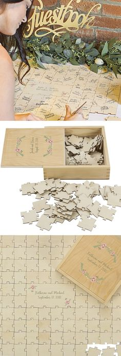 Guest Book Alternative Idea - Set a wooden wedding puzzle on the reception receiving table. Guests sign a jigsaw puzzle piece or pieces as they enter the reception hall and mingle for a fun, unique and interactive wedding signature keepsake that can be displayed in the bride and groom's home. This personalized wood wedding puzzle guest book with keepsake puzzle box can be ordered at https://myweddingreceptionideas.com/guest-book-puzzle-wood-personalized.asp