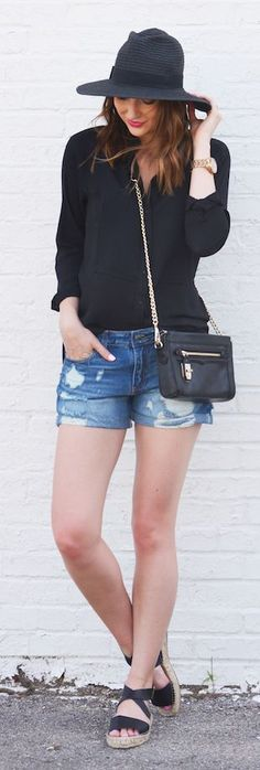 Distressed Denim Shorts Casual Streetstyle