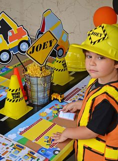 Amanda's Parties To Go: Construction Party Second Birthday Boys, 2nd Birthday Party Themes, Party Themes For Boys, Mickey Birthday, Birthday Gifts For Boys, Birthday Banners, Farm Birthday, Birthday Invitations, Construction Party Cakes
