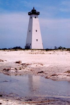 lighthouse on Ship Island in Mississippi.