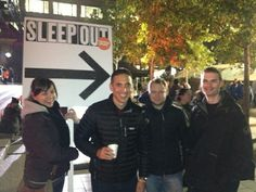 Becky, George, Steven and Stefan at the Centrepoint Sleep Out