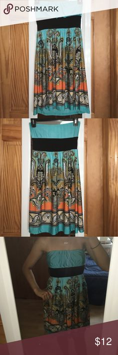 Light Blue Tribal Dress!! ~Cute for kids and teens as well! ~90% Polyester, 10% Spandex ~No padding ~Has attachments for a belt/ribbon ~Soft and Comfortable! ~Thanks!! :) Body Central Dresses Strapless