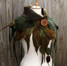 wild pixie cowl - rustic woodland scarf - woodland scarf-  woodland wrap - green shawl- brown shawl - lace shawl