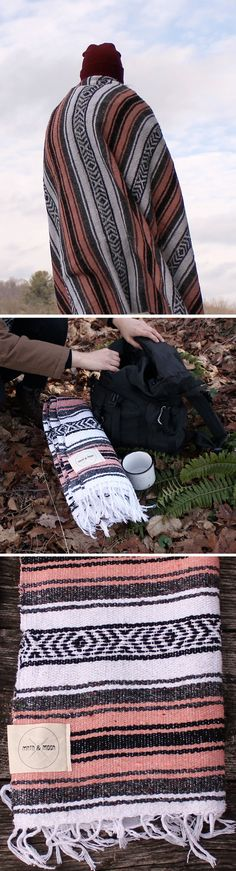 La Jara Mexican Falsa Blanket by Mntn and Moon - Use it as a camp blanket! These Mexican blankets are perfect companion for adventures.